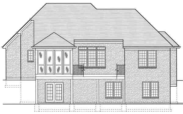 Colonial, European House Plan 97776 with 3 Beds, 3 Baths, 2 Car Garage Rear Elevation