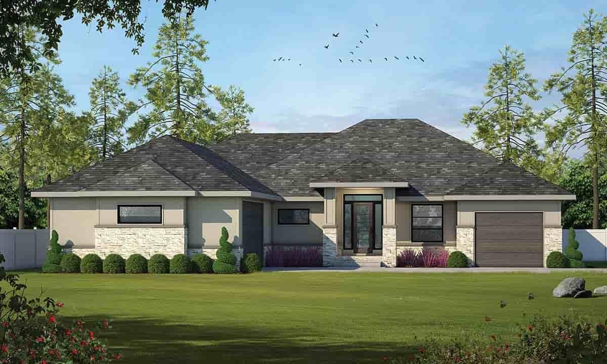 Mediterranean House Plan 97952 with 2 Beds, 2 Baths, 3 Car Garage Elevation
