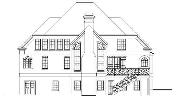 Colonial, European, Greek Revival House Plan 98220 with 4 Beds, 4 Baths Rear Elevation