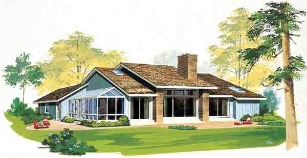 Contemporary, One-Story, Ranch, Retro House Plan 99221 with 3 Beds, 3 Baths, 2 Car Garage Rear Elevation