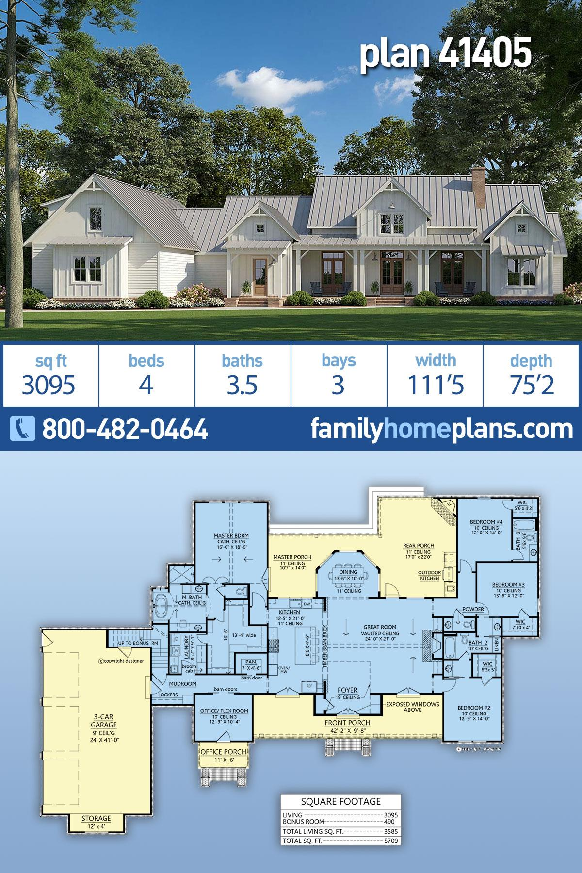 Country, Farmhouse House Plan 41405 with 4 Beds, 4 Baths, 3 Car Garage