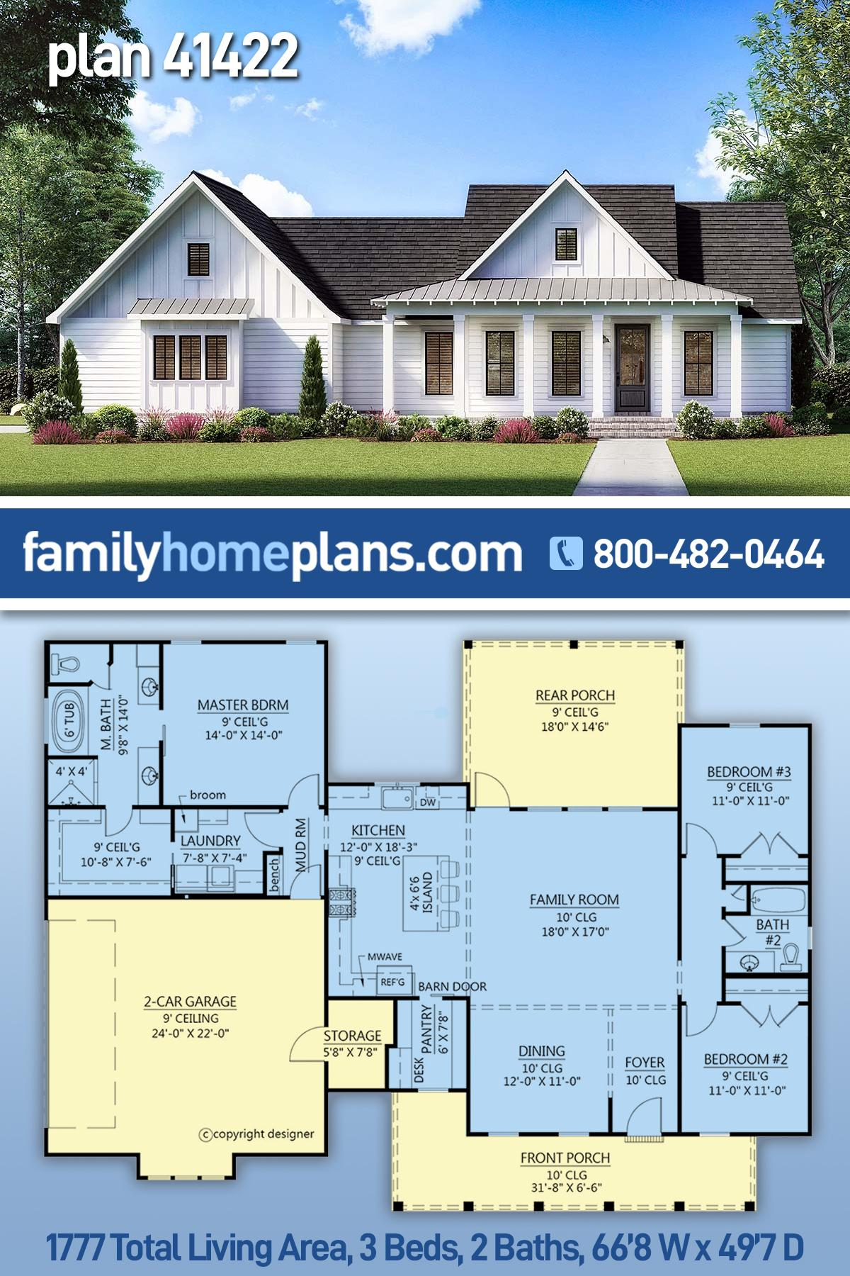 Country, Farmhouse, Southern House Plan 41422 with 3 Beds, 2 Baths, 2 Car Garage