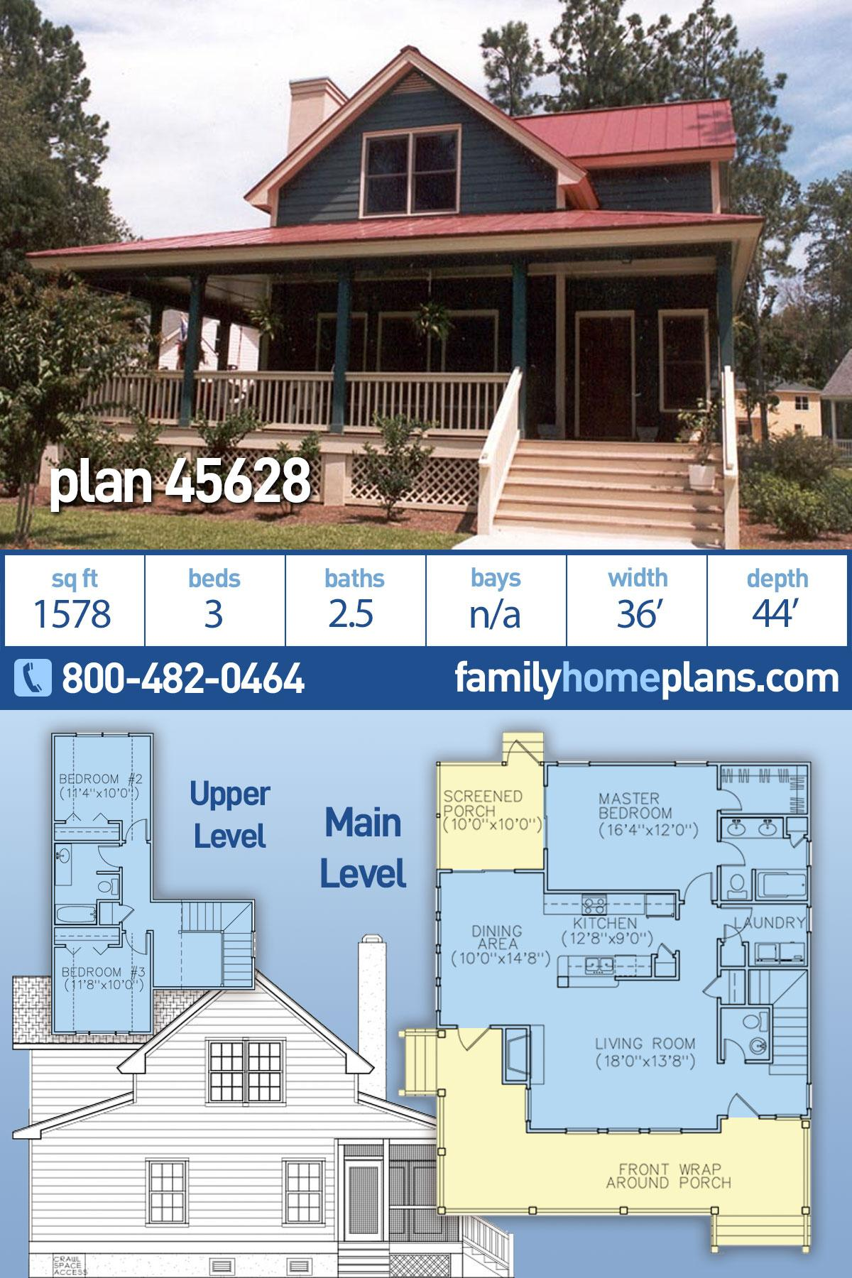 Country, Farmhouse House Plan 45628 with 3 Beds, 3 Baths