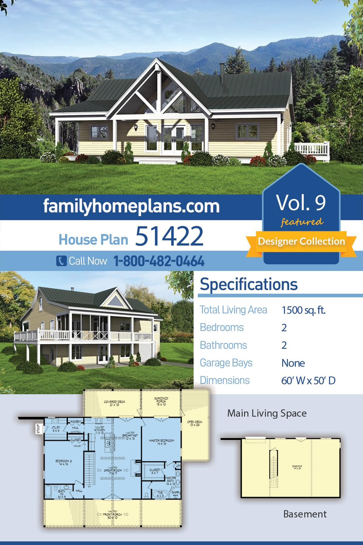 Country, Craftsman, Ranch, Traditional House Plan 51422 with 2 Beds, 2 Baths