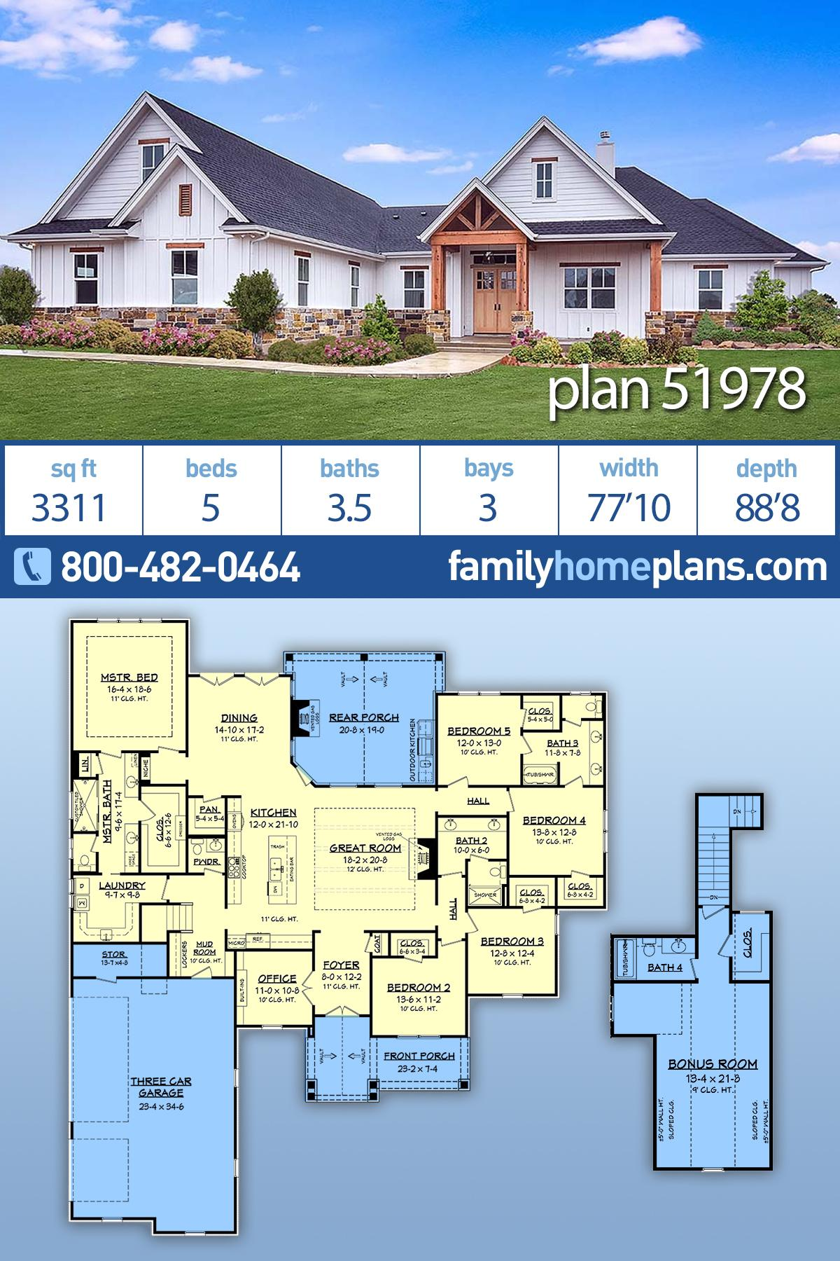 Cottage, Craftsman, Southern House Plan 51978 with 5 Beds, 4 Baths, 3 Car Garage