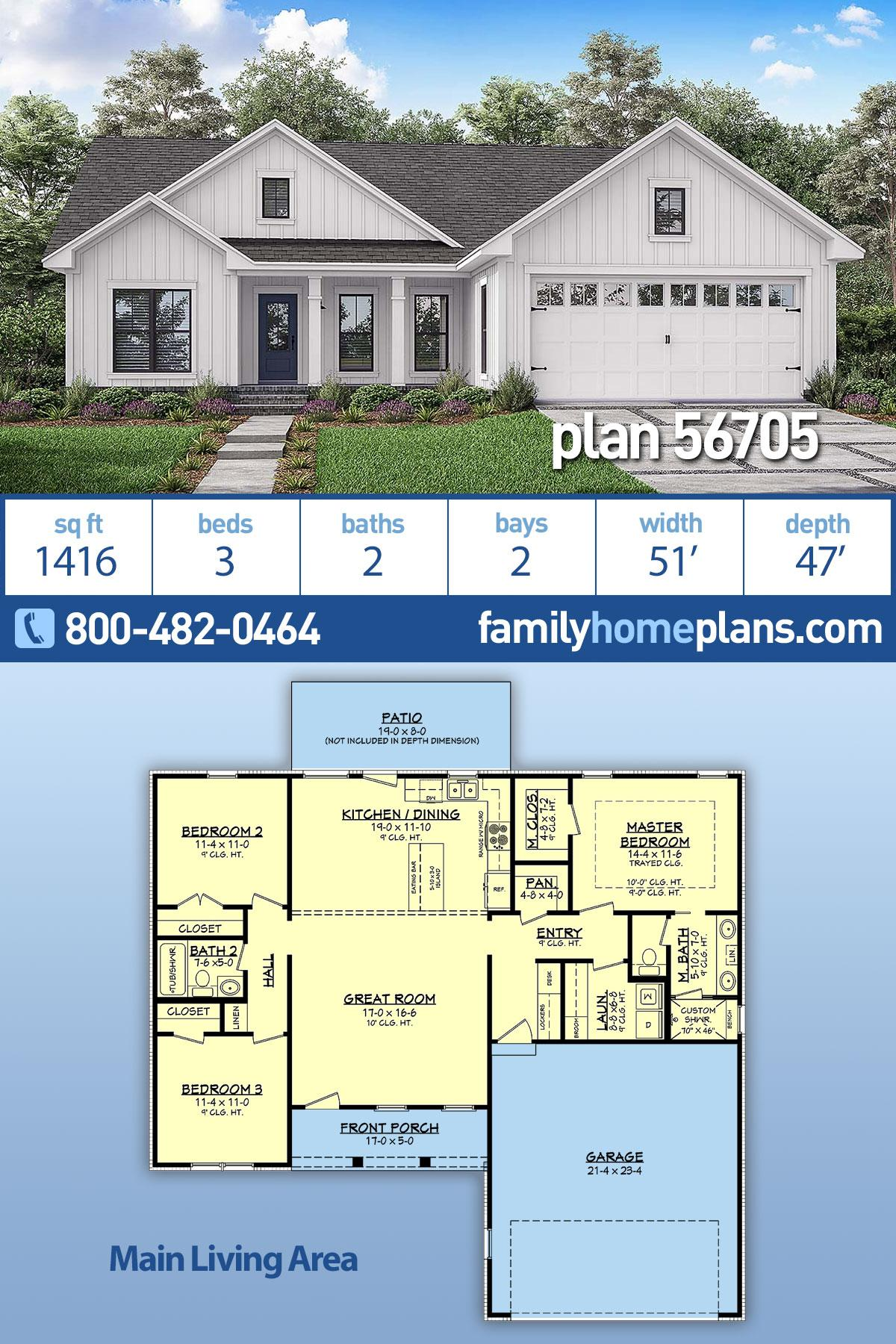 Country, Farmhouse, Traditional House Plan 56705 with 3 Beds, 2 Baths, 2 Car Garage