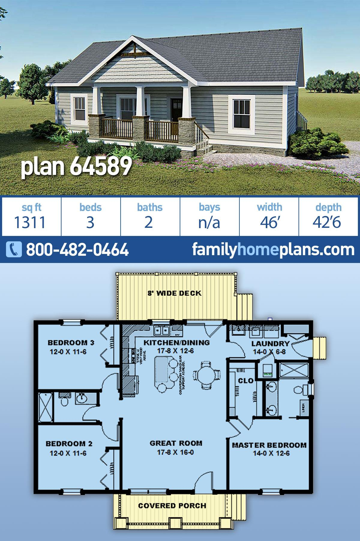 Bungalow, Country, Craftsman House Plan 64589 with 3 Beds, 2 Baths
