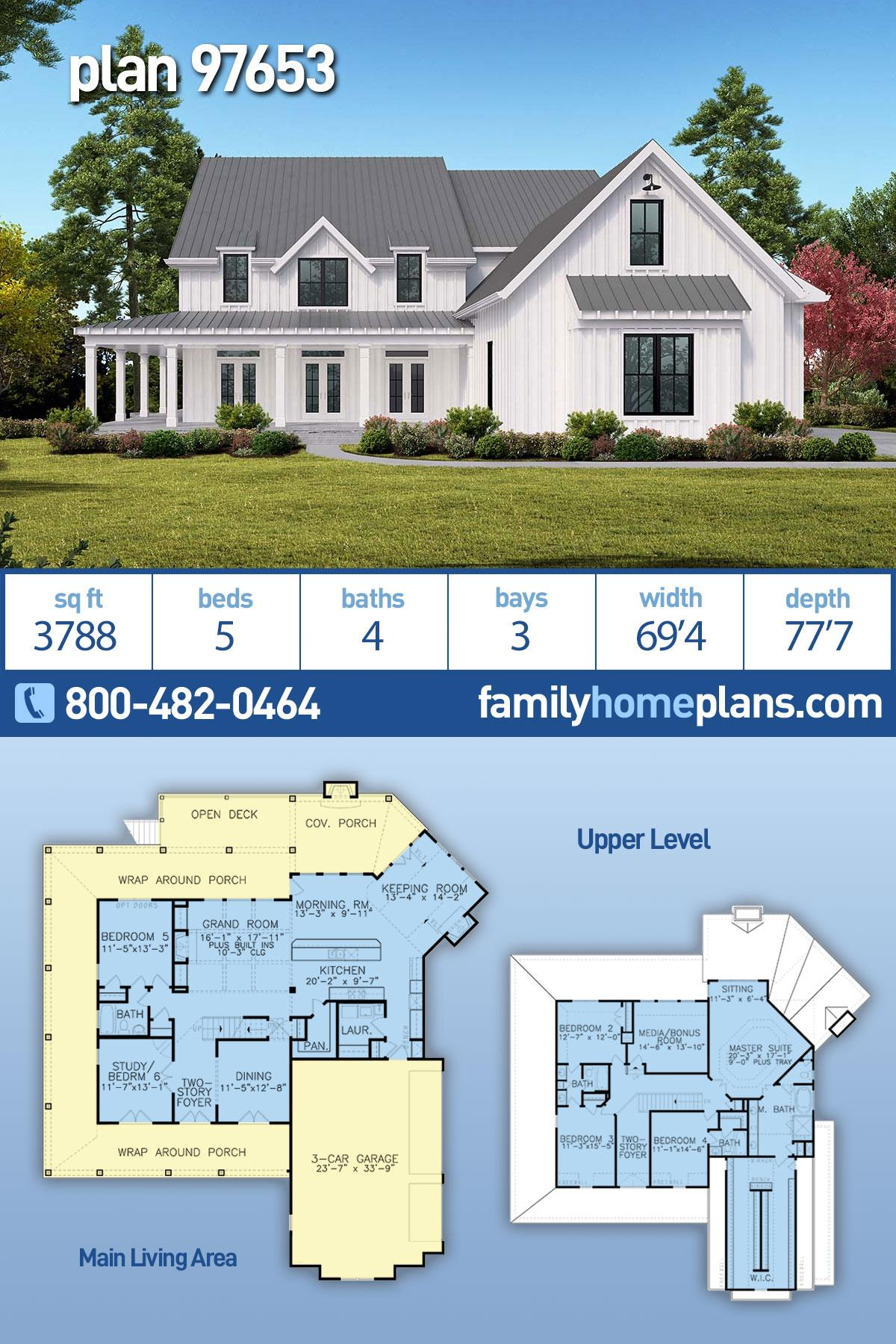 Country, Farmhouse, Ranch, Southern House Plan 97653 with 5 Beds, 4 Baths, 3 Car Garage