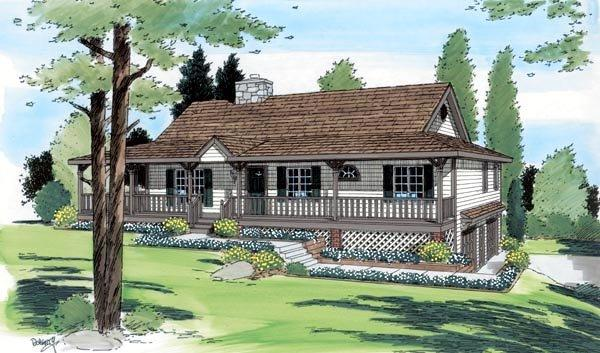 Country, Ranch House Plan 24249 with 3 Beds, 2 Baths, 2 Car Garage Elevation