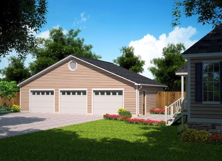 Ranch, Traditional 3 Car Garage Plan 30004 Elevation