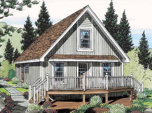 Cabin, Cottage House Plan 35007 with 2 Beds, 1 Baths Elevation