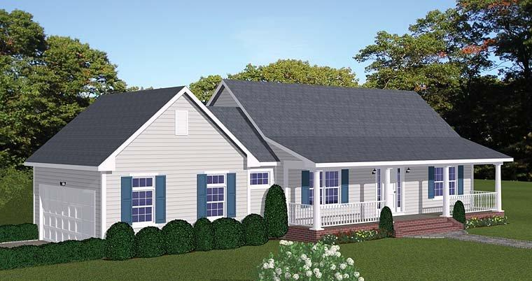 Country, Ranch, Southern House Plan 40623 with 2 Beds, 2 Baths, 2 Car Garage Elevation
