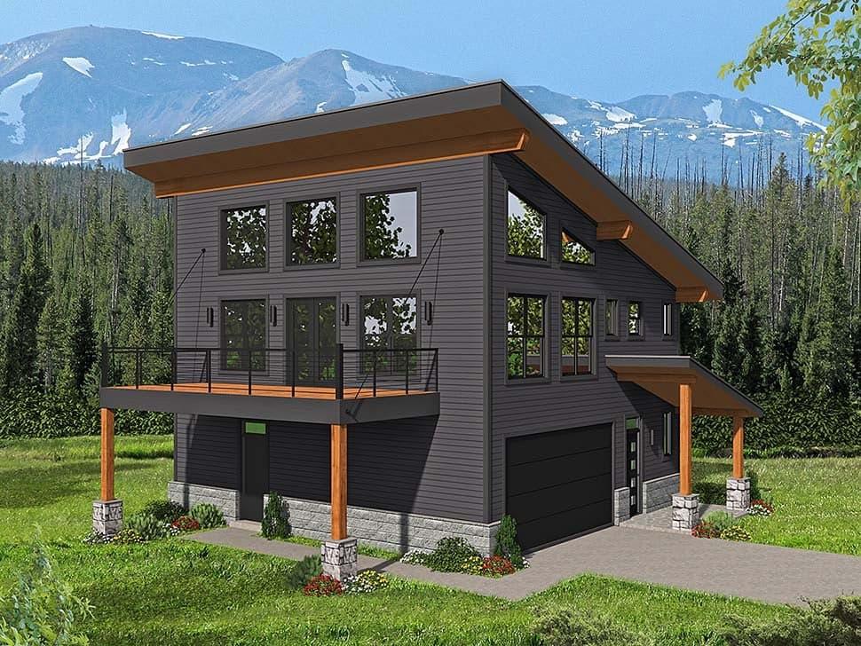Contemporary, Modern Garage-Living Plan 40816 with 3 Beds, 2 Baths, 2 Car Garage Elevation