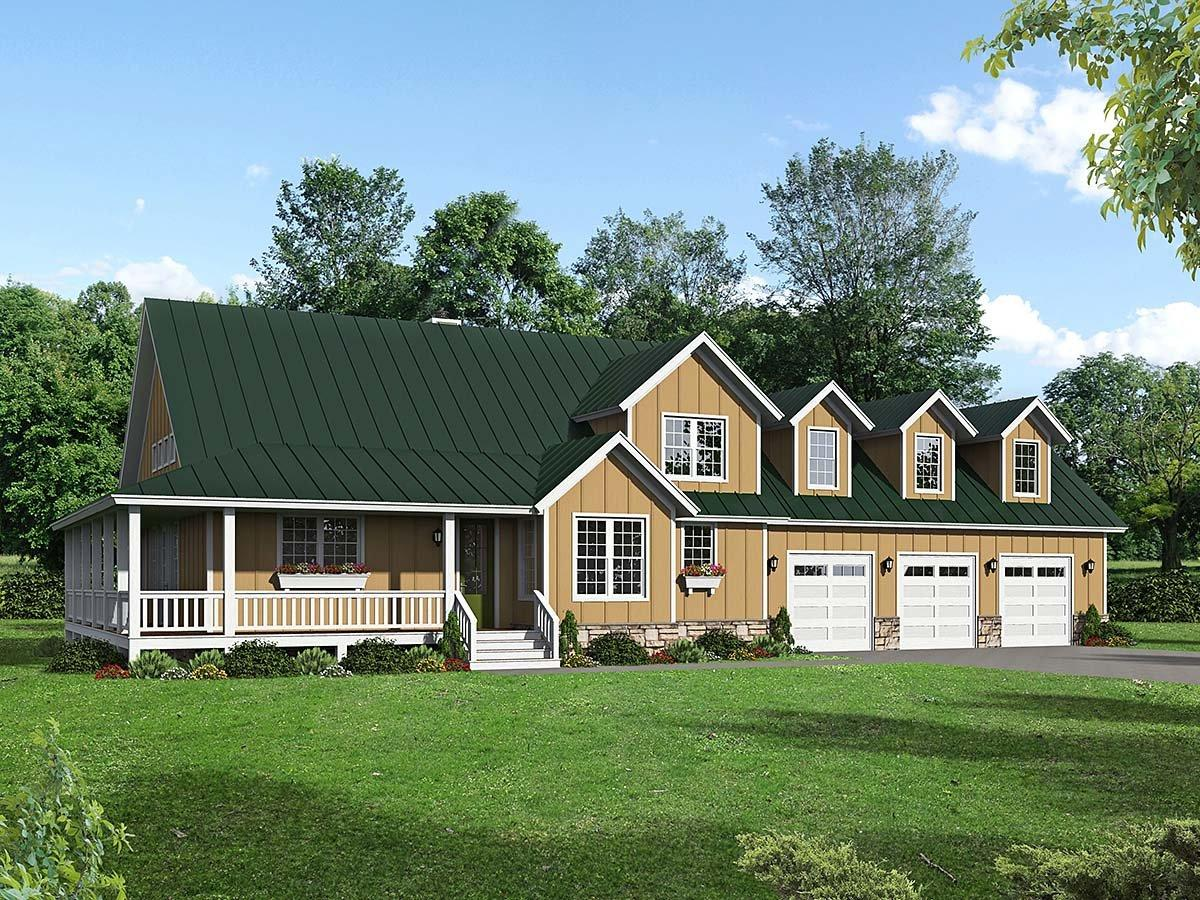Country, Craftsman, Farmhouse House Plan 40850 with 3 Beds, 3 Baths, 3 Car Garage Elevation