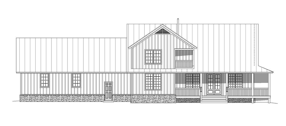 Country, Craftsman, Farmhouse House Plan 40850 with 3 Beds, 3 Baths, 3 Car Garage Rear Elevation