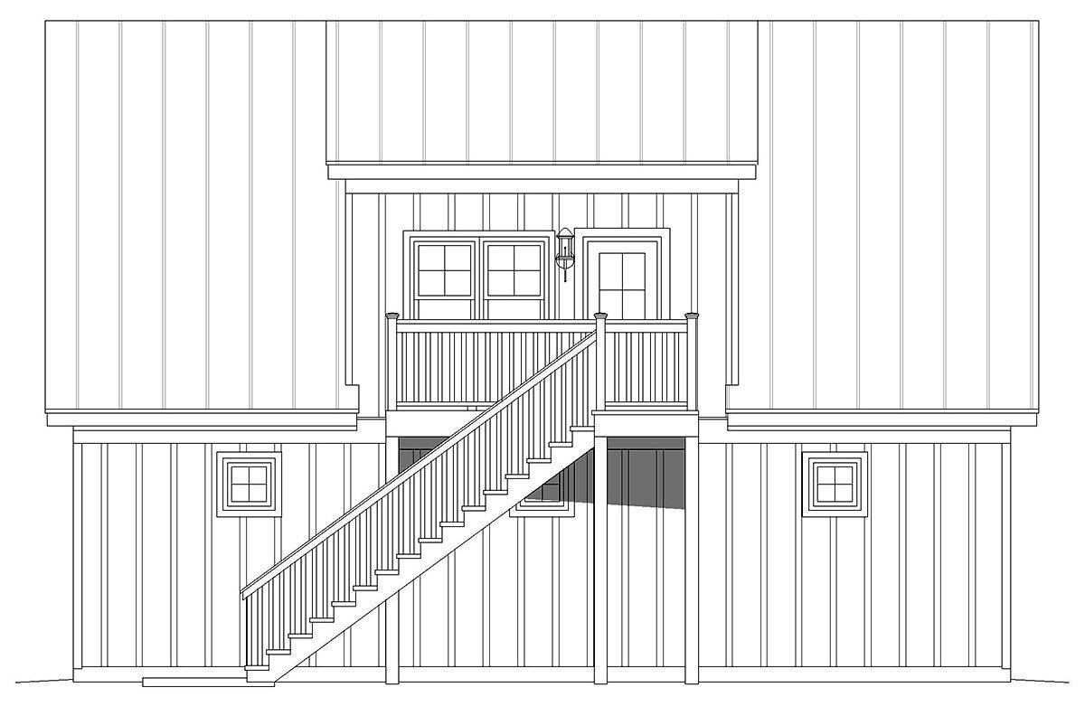 Country, Ranch House Plan 40852 with 1 Beds, 1 Baths, 2 Car Garage Rear Elevation