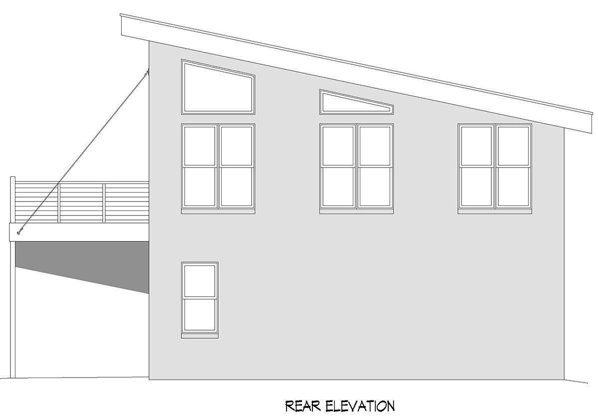 Contemporary, Modern Garage-Living Plan 40897 with 1 Beds, 1 Baths, 2 Car Garage Rear Elevation