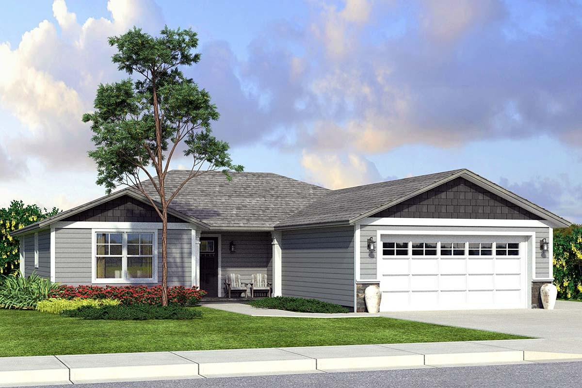 Country, Ranch, Traditional House Plan 41205 with 4 Beds, 3 Baths, 2 Car Garage Elevation