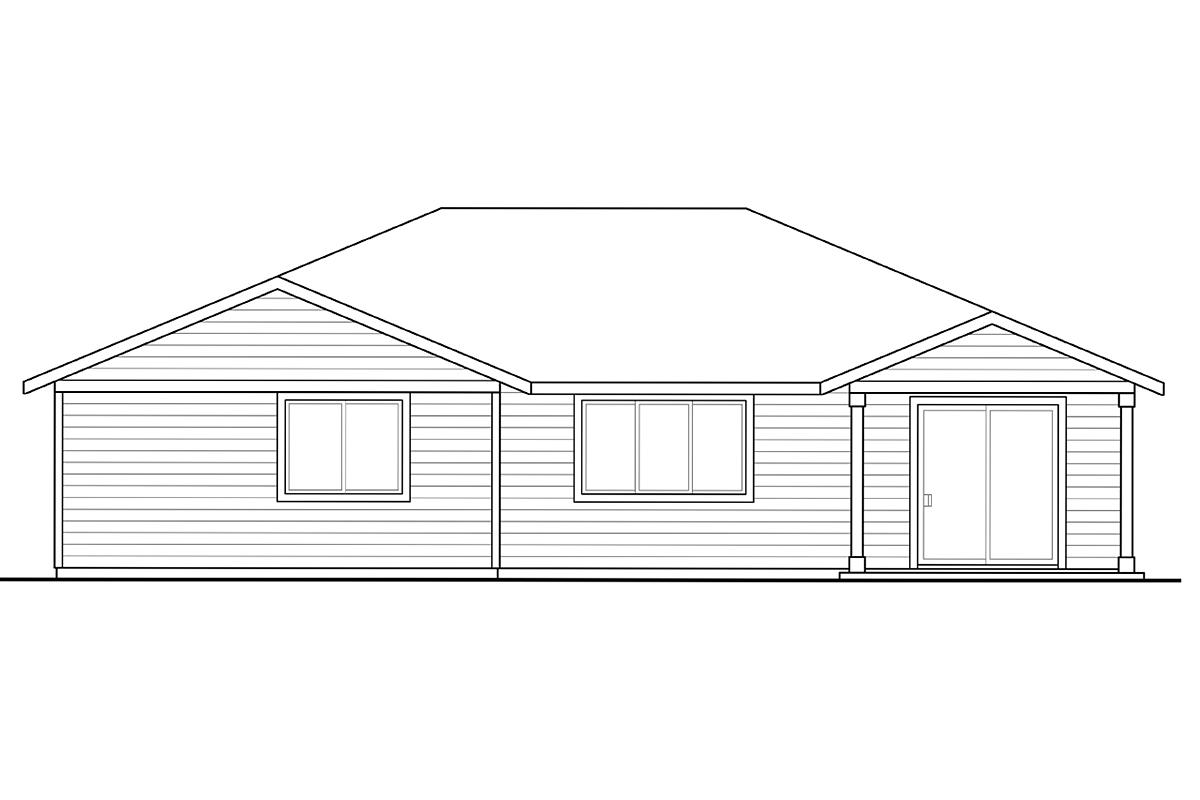 Country, Ranch, Traditional House Plan 41205 with 4 Beds, 3 Baths, 2 Car Garage Rear Elevation