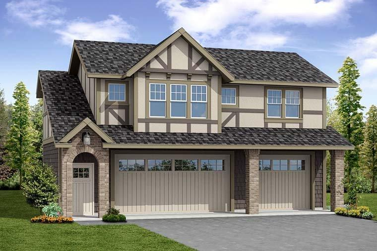 Traditional, Tudor 2 Car Garage Apartment Plan 41280 with 1 Beds, 1 Baths Elevation