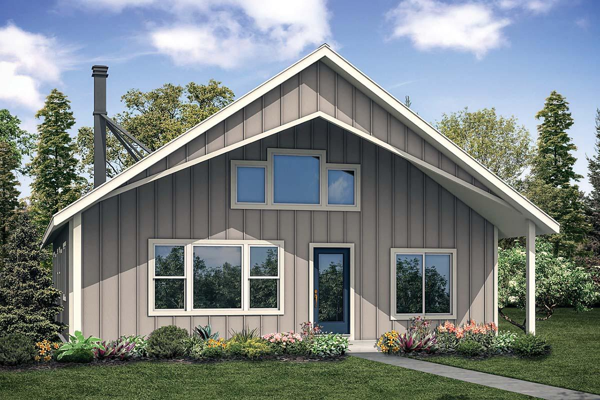 Cabin, Contemporary House Plan 41302 with 2 Beds, 2 Baths Elevation