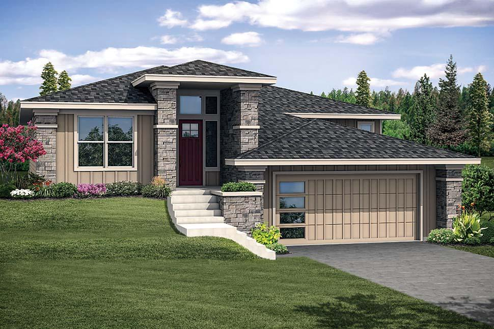 Contemporary, Craftsman, Modern House Plan 41305 with 3 Beds, 2 Baths, 2 Car Garage Elevation