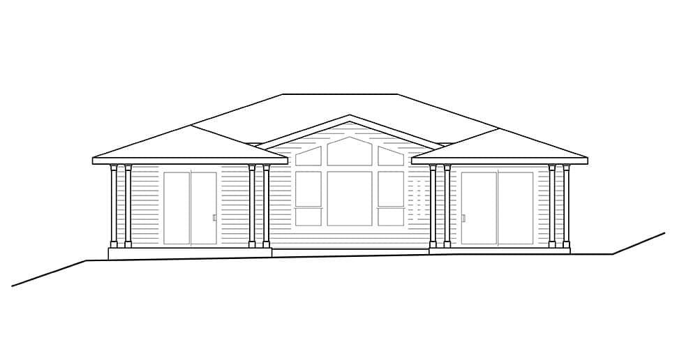 Contemporary, Craftsman, Modern House Plan 41305 with 3 Beds, 2 Baths, 2 Car Garage Rear Elevation