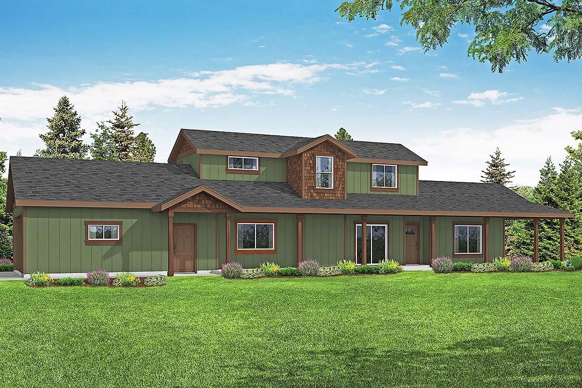 Country, Craftsman, Farmhouse House Plan 41381 with 3 Beds, 3 Baths, 2 Car Garage Elevation