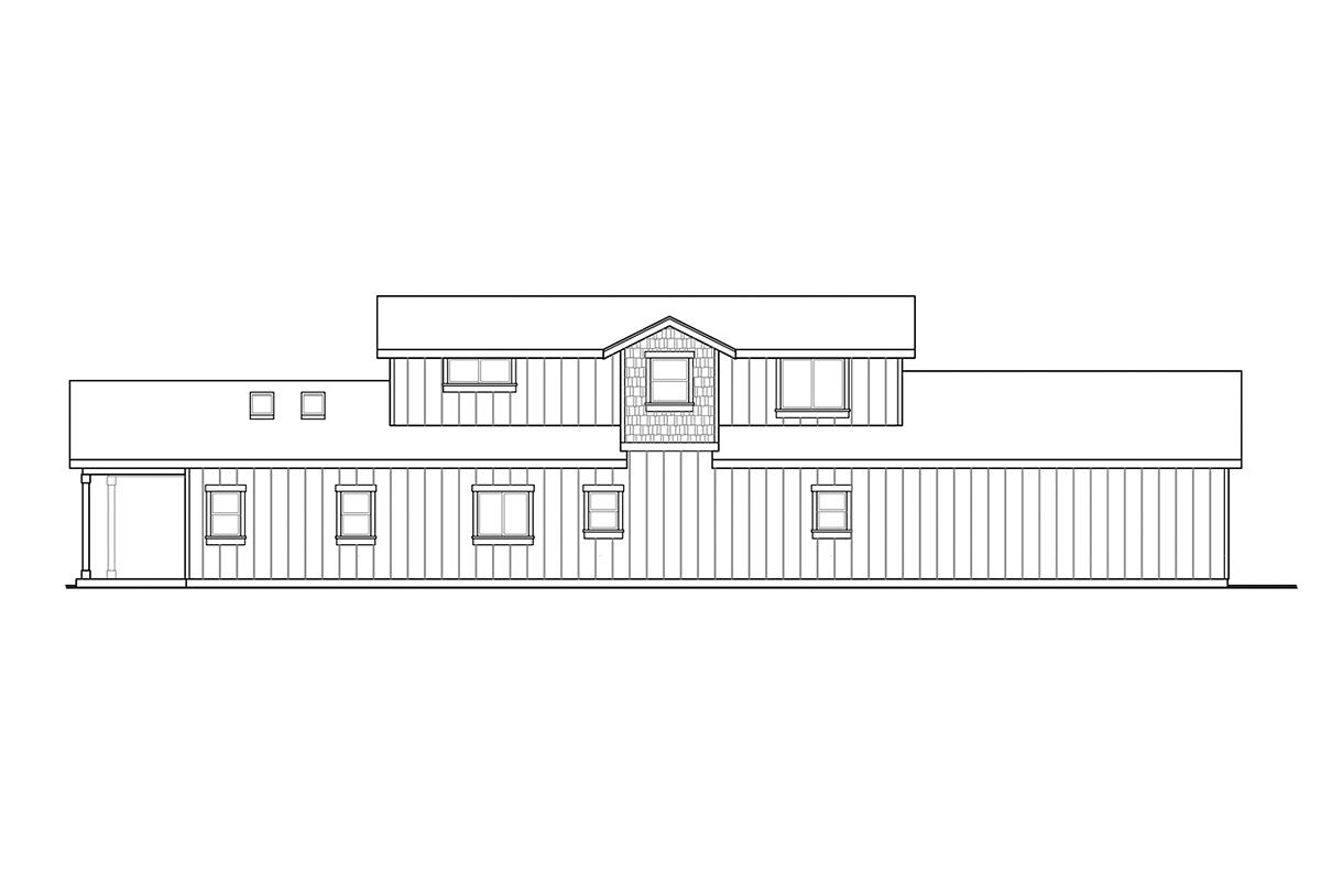 Country, Craftsman, Farmhouse House Plan 41381 with 3 Beds, 3 Baths, 2 Car Garage Rear Elevation