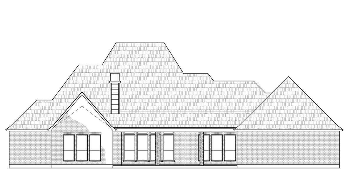 European, Traditional House Plan 41403 with 4 Beds, 3 Baths, 3 Car Garage Rear Elevation
