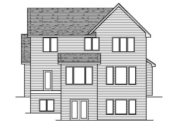 Country, Craftsman, Narrow Lot, Traditional House Plan 42082 with 3 Beds, 3 Baths, 2 Car Garage Rear Elevation