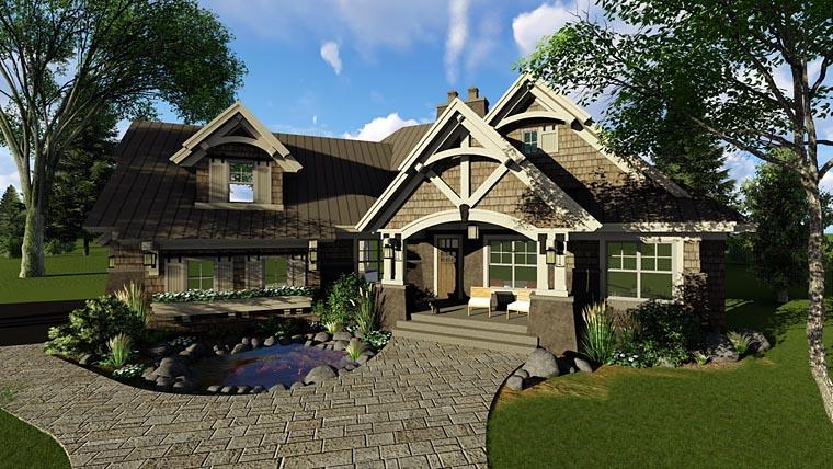 Bungalow, Cottage, Craftsman, Tudor House Plan 42675 with 3 Beds, 3 Baths, 2 Car Garage Elevation