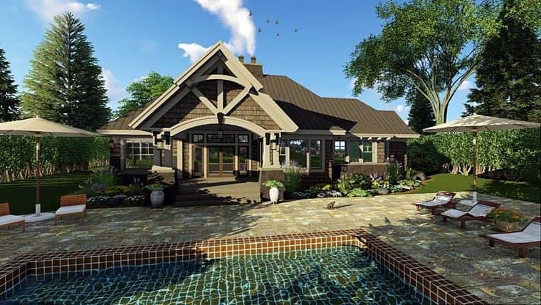 Bungalow, Cottage, Craftsman, Tudor House Plan 42675 with 3 Beds, 3 Baths, 2 Car Garage Rear Elevation