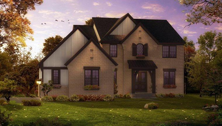European, French Country, Tudor House Plan 42822 with 4 Beds, 4 Baths, 3 Car Garage Elevation