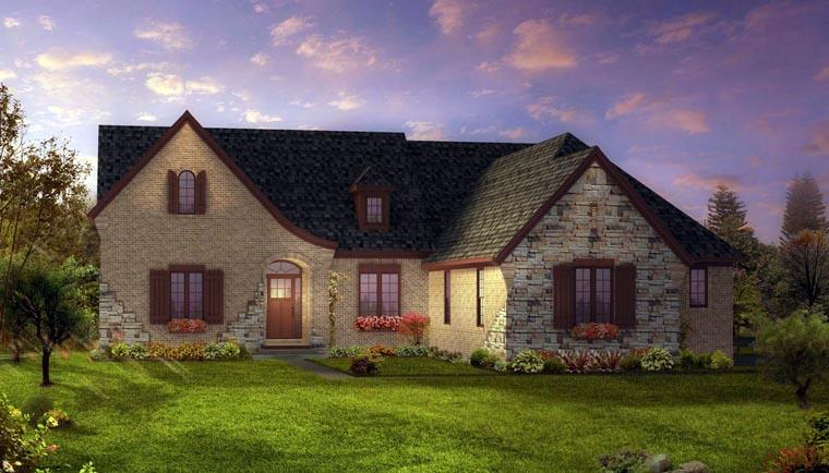European, Tudor House Plan 42830 with 3 Beds, 3 Baths, 3 Car Garage Elevation