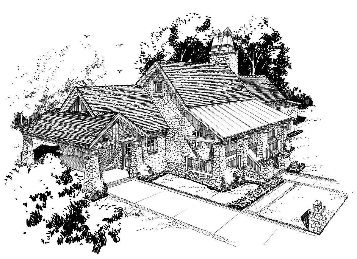 Cabin, Craftsman, Tudor House Plan 43202 with 3 Beds, 3 Baths, 1 Car Garage Elevation