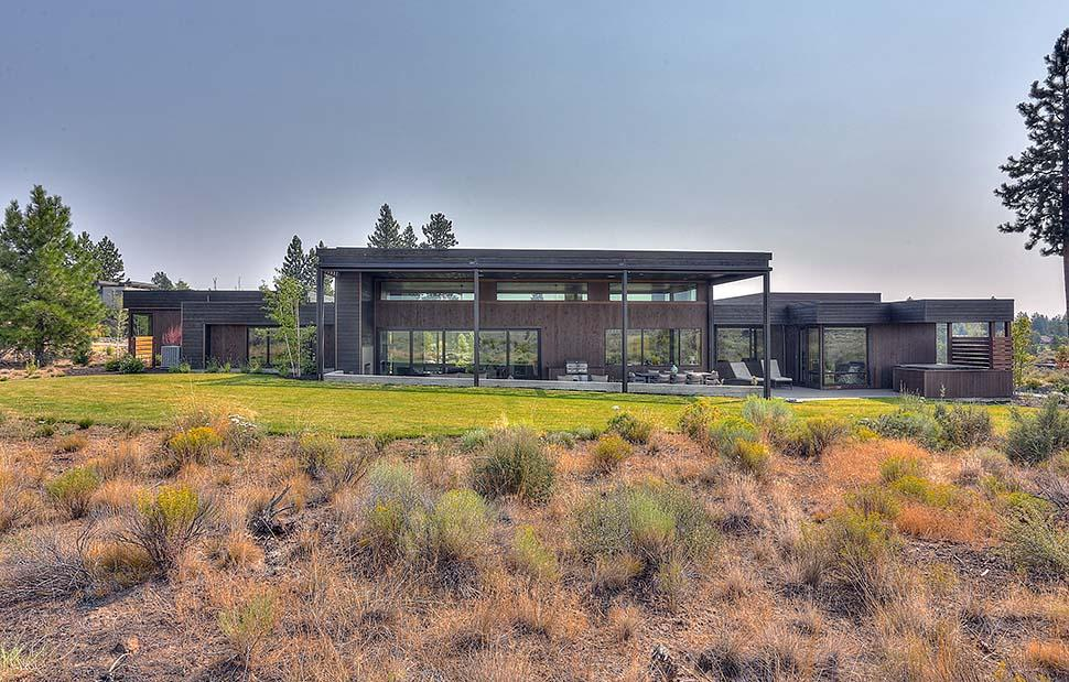 Modern House Plan 43321 with 3 Beds, 4 Baths, 3 Car Garage Rear Elevation