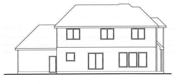 Country House Plan 44125 with 4 Beds, 3 Baths, 3 Car Garage Rear Elevation