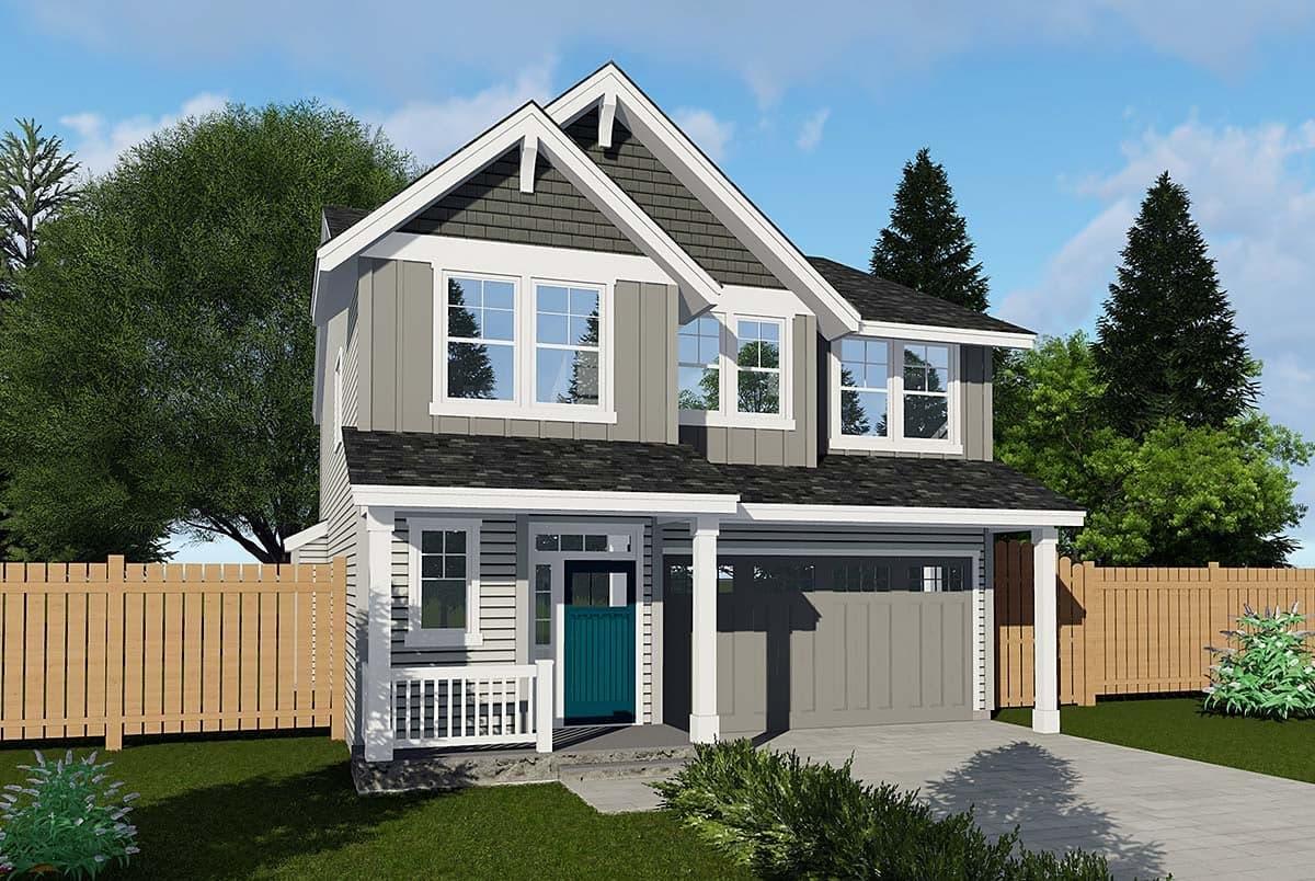 Cottage, Craftsman, Traditional House Plan 44640 with 4 Beds, 3 Baths, 1 Car Garage Elevation