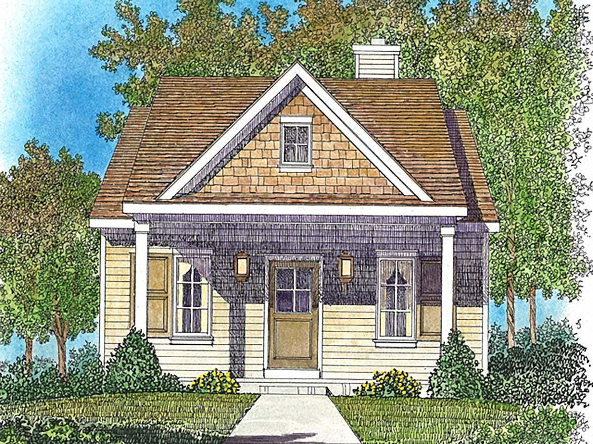 Bungalow, Cottage House Plan 45163 with 1 Beds, 1 Baths Elevation