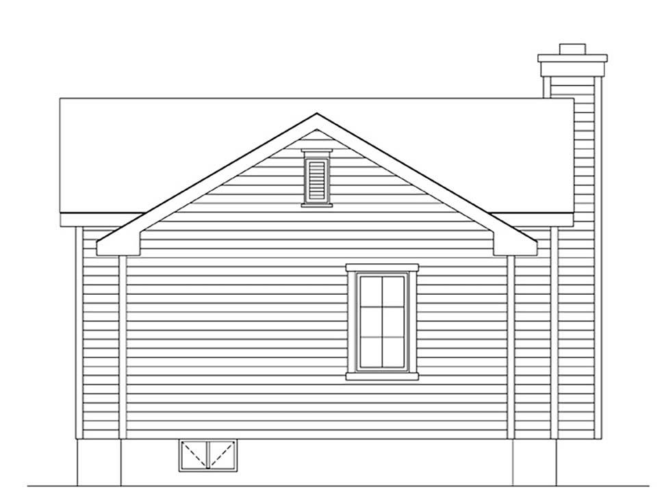 Bungalow, Cottage, Narrow Lot, One-Story House Plan 45172 with 1 Beds, 1 Baths Rear Elevation