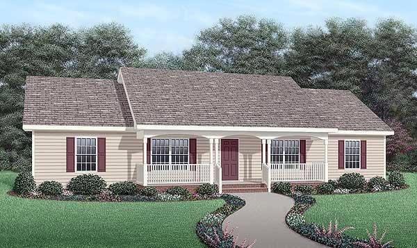 One-Story, Ranch House Plan 45467 with 4 Beds, 2 Baths Elevation