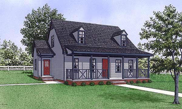 Cape Cod House Plan 45492 with 3 Beds, 3 Baths Elevation
