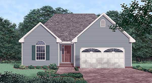 Narrow Lot, One-Story, Traditional House Plan 45506 with 3 Beds, 2 Baths, 2 Car Garage Elevation