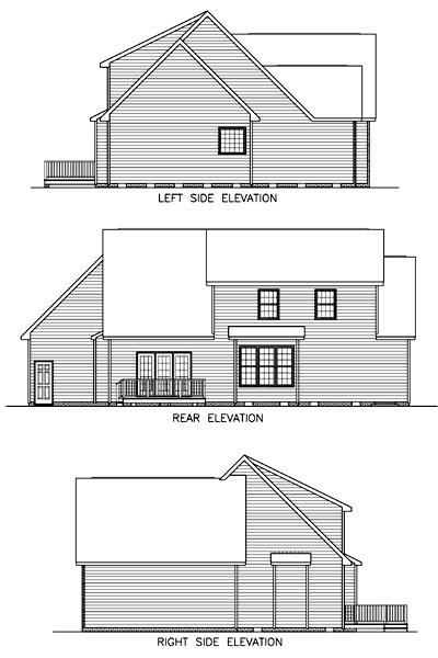 House Plan 45511 with 3 Beds, 3 Baths, 2 Car Garage Rear Elevation