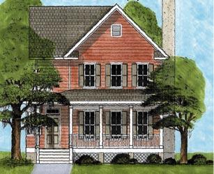 Country, Narrow Lot, Southern House Plan 45640 with 4 Beds, 4 Baths Elevation