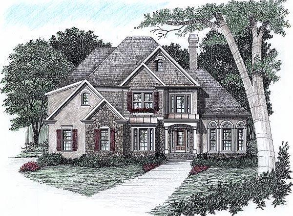 Traditional House Plan 45830 with 3 Beds, 3.5 Baths, 2 Car Garage Elevation