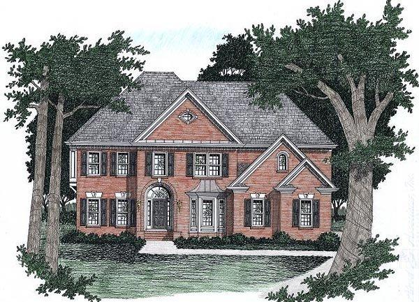 Traditional House Plan 45850 with 5 Beds, 4 Baths, 2 Car Garage Elevation