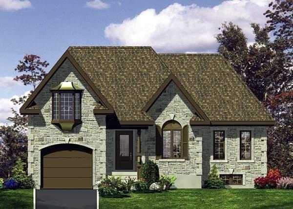 European House Plan 48121 with 1 Beds, 1 Baths, 1 Car Garage Elevation