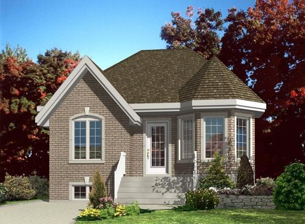 Narrow Lot, One-Story, Victorian House Plan 48190 with 2 Beds, 1 Baths Elevation